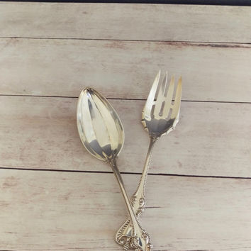 Old Colonial Towle Silver Serving Spoon and Meat Fork/ Towle Silver/ Towle Silver Serving Pieces/ Towle Table Spoon/ Cold Meat Fork/ Antique