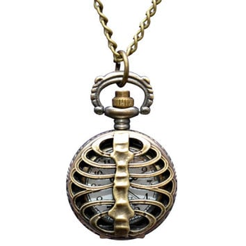 Rib Cage Clock Necklace