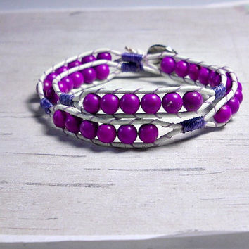Double Wrap Leather Bracelet, Purple wrap bracelet Wrap Around, Womens Bracelet
