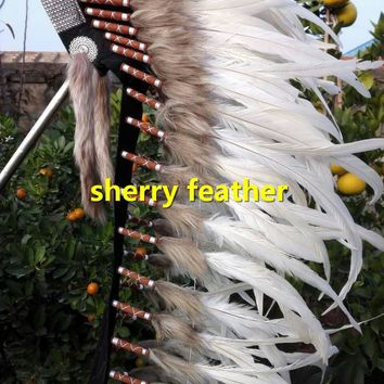 Off white 36INCH indian feather headdress american costumes indian chief headdress handmade halloween feather costume
