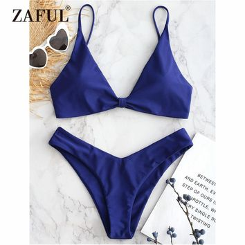 ZAFUL Knotted Bikini Low Rise Cami Swimwear Women High Cut Swimsuit Sexy Spaghetti Straps Low Waist Padded Bathing Suit Biquni