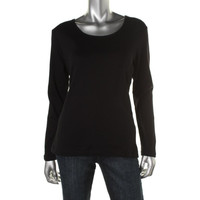 Karen Scott Womens Crew Neck Long Sleeves T-Shirt