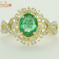 solid 14kt gold natural 1.85ct columbian emerald diamond engagement ring