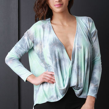 Tie Dye Surplice Knot Long Sleeve Top