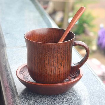 Wooden Cup Saucer Spoon Set - 3pcs