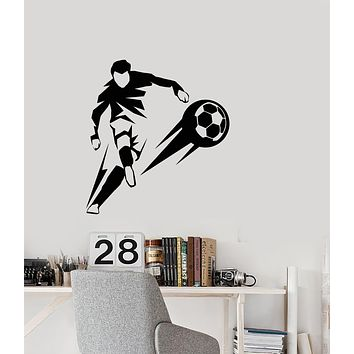 Vinyl Wall Decal Soccer Game Player Abstract Ball Sport Boy Stickers (3485ig)