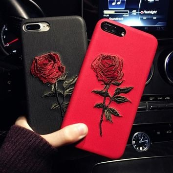 GETIHU Embroidery Rose Case For iPhone 7 8 6 6S Plus Cover Capa Coque For iPhone 7 6 8 Case 360 Degree For iPhone7 7Plus i Phone
