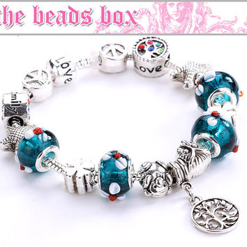 AA-34 Charm Bracelet 925 Sterling Silver Murano Glass & Crystal Beads / Adjustable + Free Shipping