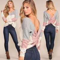 Pullover Backless Irregular Sweater [1447966572641]