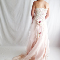 Blush pink wedding dress, lace wedding dress, romantic wedding dress, fairy wedding dress, wedding gown, romantic wedding dress