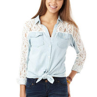 Lace Mix Chambray Shirt