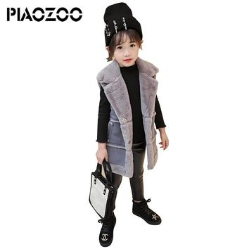 High quality turn down collar faux fur vest with pockets fashion coat winter thicken long vest cardigan children outwearP20