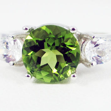 Peridot and CZ Pear Accents Ring Sterling Silver, August Birthstone Ring, Peridot Gemstone Ring, Three Stone Ring, Peridot 3 Stone Ring