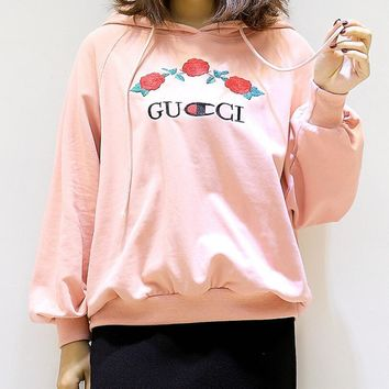 One-nice™ GUCCI : Champion flower rose print sweater hoodie pullover top Large size Pink
