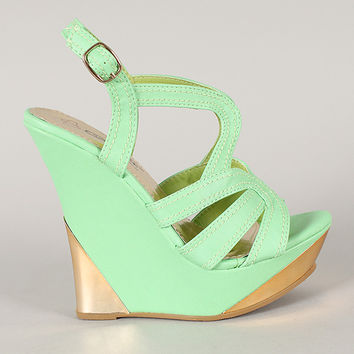 Aleedy-1 Strappy Open Toe Platform Wedge