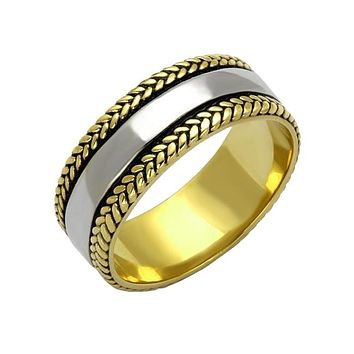 Laurel Leaf Ring - Men's Stainless Steel Two Tone Silver And Gold IP