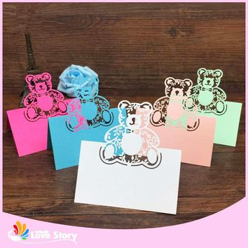 40pcs Bear Laser Cut Baby Shower Birthday Party Table Name Place Cards Wedding Invitations Table Name Card Party Decoration