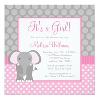 Pink Gray Elephant Polka Dot Girl Baby Shower