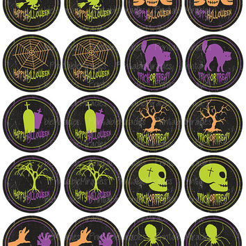 Chalkboard Halloween printable cupcake toppers halloween party stickers DIY decoration Instant download 2 inches circles
