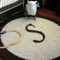 Custom Personalized Round Rug with Border Frame