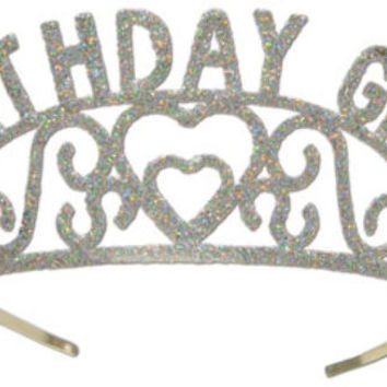 Glittered Metal Birthday Girl Tiara Case Pack 6