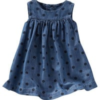 2-Piece Dotted Chambray Dress