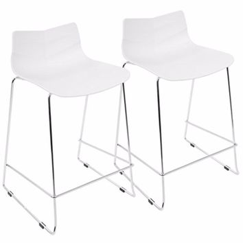 Arrow Contemporary Counter Stool in White by LumiSource-Set of 2