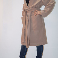 Hooded Long Wool Coat/ Winter Cape Coat /Cashmere Poncho Coat /Long Sleeve trench Coat/ Jacket for Women/ Hooded Wool Vest/F1275