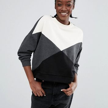 Monki Color Block Sweatshirt Sweater at asos.com