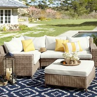 Torrey All-Weather Wicker Square-Arm Sectional Set - Natural