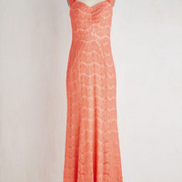 ModCloth Long Sleeveless Maxi Sunrise Ceremony Dress in Coral