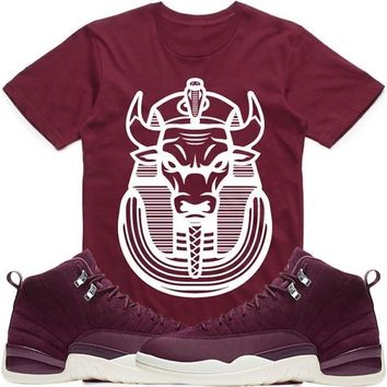 BULLY PHARAOH Maroon Sneaker Tees Shirt - Jordan 12 Bordeaux