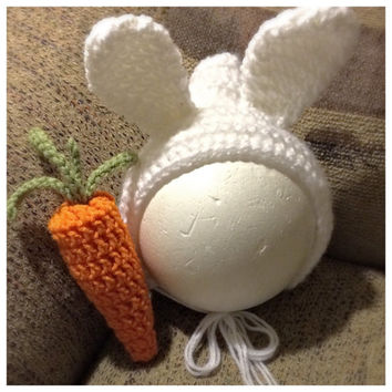 Bunny Rabbit Bonnet Crochet - 0-12 month - made to order