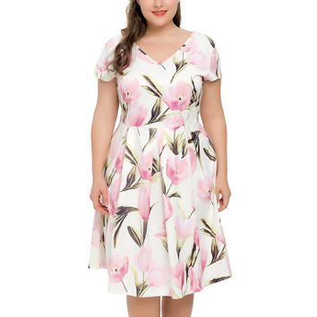 Chicwe Women's Stretch Plus Size Lily Floral Printed Skater Dress with Cap Sleeves 1X-4X
