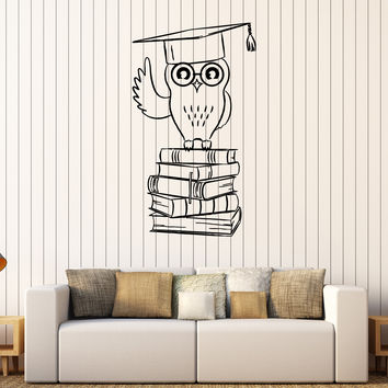 Vinyl Wall Decal Owl Student College Education Books Stickers Unique Gift (408ig)