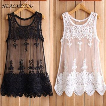 New Hot Selling Fashion Women Mesh Lace Blouses Shirts Embroidered Flowers Sleeveless Perspective Tank Tops S-6XL