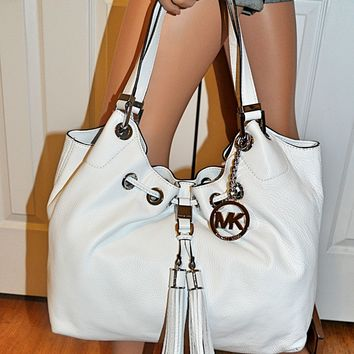 MICHAEL KORS Camden Large Leather Drawstring Shoulder Handbag Tote Bag White NWT