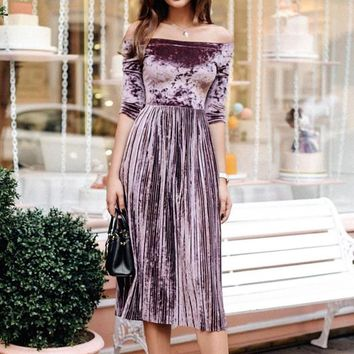 Women Purple Off Shoulder Velvet Sexy Dresses Party Night Club Dress Winter Dresses Swing Elegant Dress Veditos WS4176O