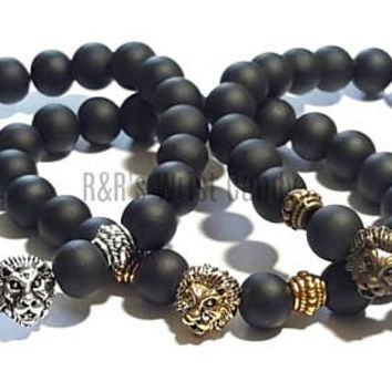 Men's Lionhead Black Beaded Bracelet, Budda, Stretchy, Rubberized, Matte Black Beads,Fathers Day, Dad Gifts Handmade, Custom Beaded Jewelry