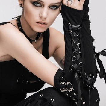 Gothic Steampunk Lace-up Gloves