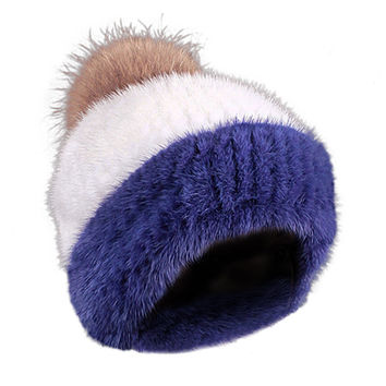 Mink Limited Edition Full Fur Hat Stripe Royal and White