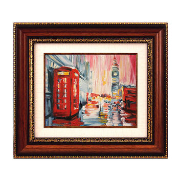 London Cityscape Big Ben Wall Art Oil Painting on Canvas Original Hand Painted & FRAMED