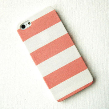 Wide Coral Pink Stripe Fabric iPhone 4/4s Case