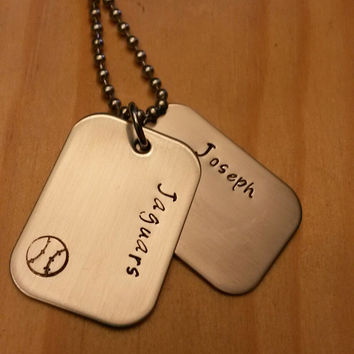 Hand Stamped Baseball Necklace - Baseball Necklace - Baseball Dog Tags Necklace - Baseball Team Gift - Personalized Necklace