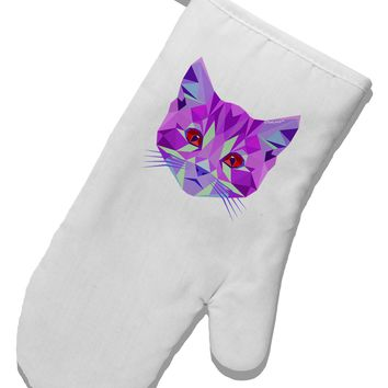Geometric Kitty Purple White Printed Fabric Oven Mitt