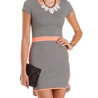Striped Bodycon Dolphin Hem Dress