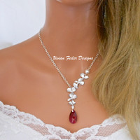 Red Wedding Jewelry Orchid Necklace Flower Ruby - Vivian Feiler Designs | Wedding Jewelry | Bridal