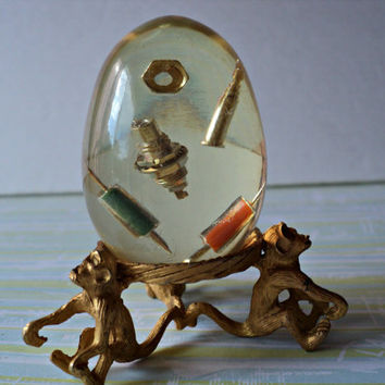 Transistors in Lucite Egg Goldtone Stand Three Monkeys Transistor Parts 1950's Technical Geek Paperweight Retro Home Decor