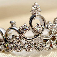Sterling Silver and CZ Princess Crown Ring