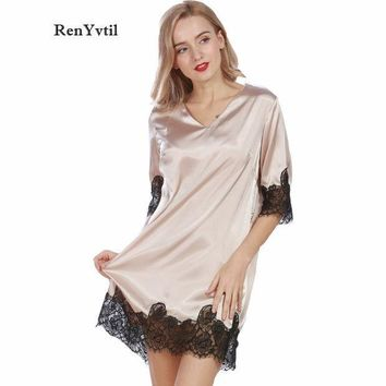 ESBONHS RenYvtil Lace Women Nightgowns 2017 Designer Summer Faux Silk Ladies Sexy Dressing Gowns Female Silky Woman Sleep Lounge